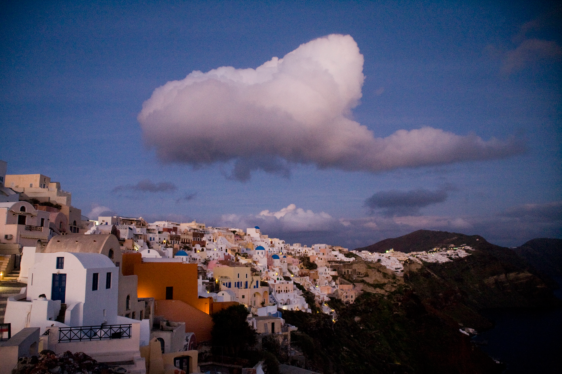 Oia and clouds