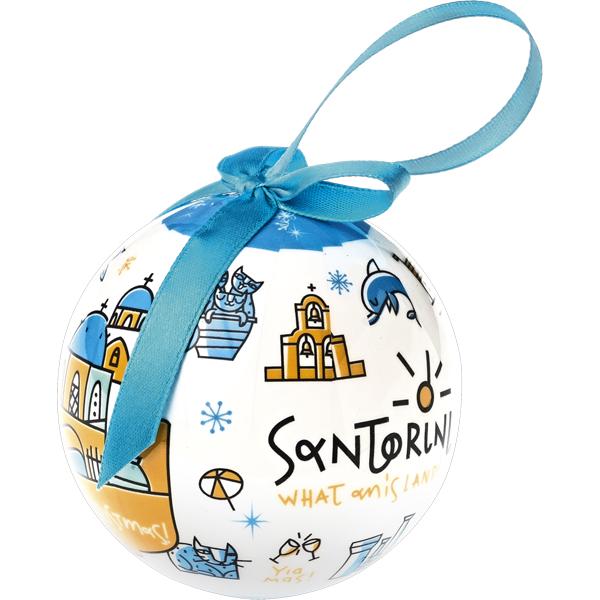Santorini Christmas tree ornament ball