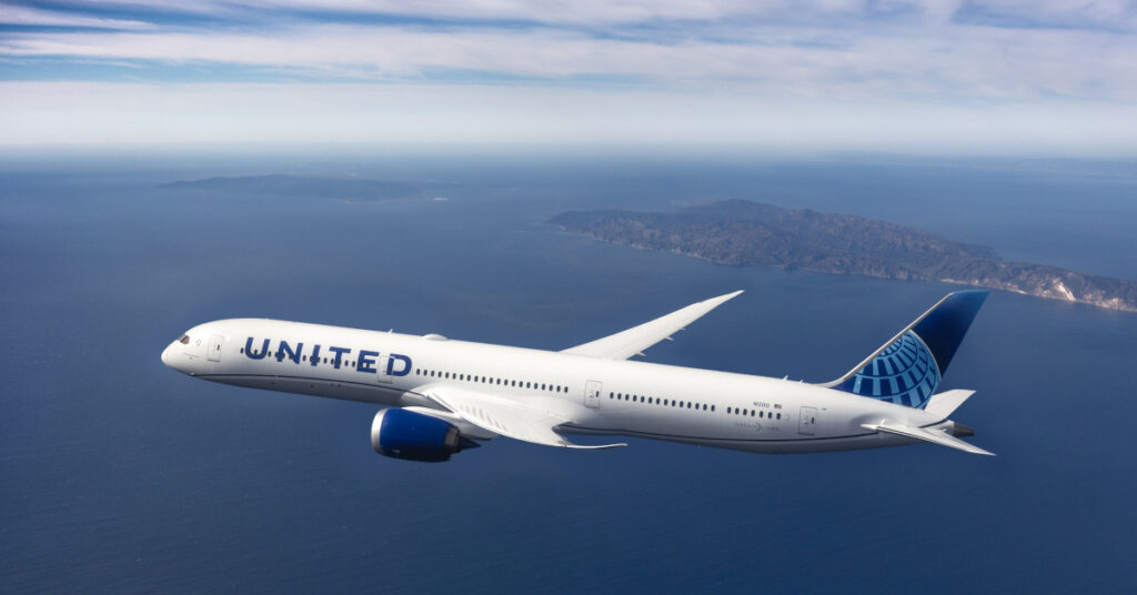 United Airlines airplane flying