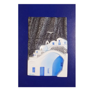 Santorini houses on the volcanic rock wall decor