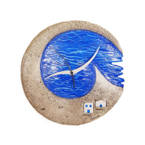 Santorini volcanic grey wall clock