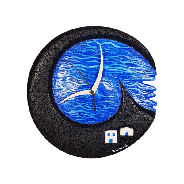 Santorini volcanic black wall clock