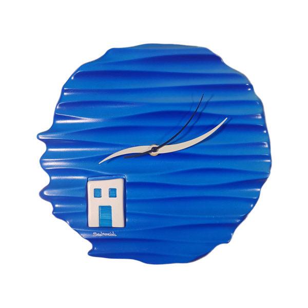 Santorini blue wall clock