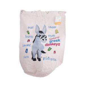 Canvas backpack bag - Greek donkeys