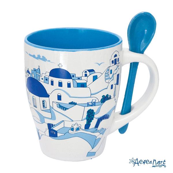 Cappuccino Mug With Spoon Santorini Net E Shop