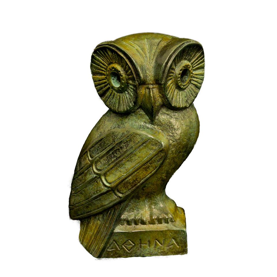 Owl Bronze 16cm Santorini