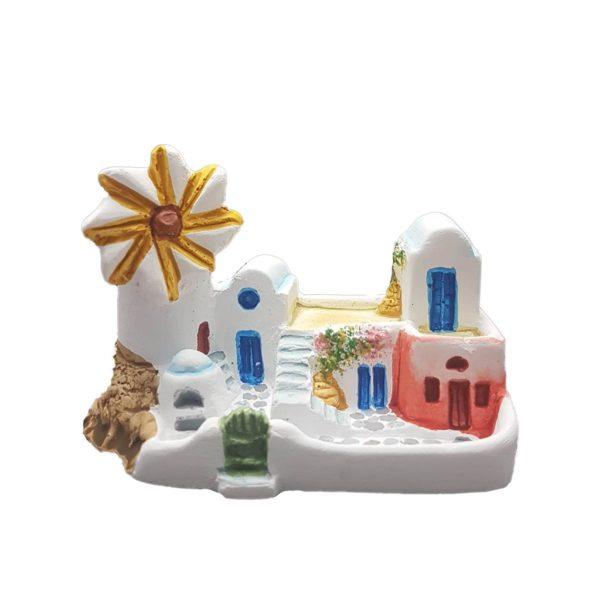 Santorini complex house with windmill handmade miniature
